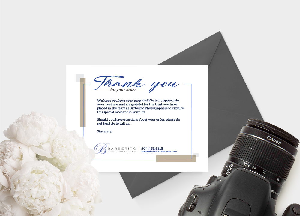 Barberito Photographers  Thank You Card