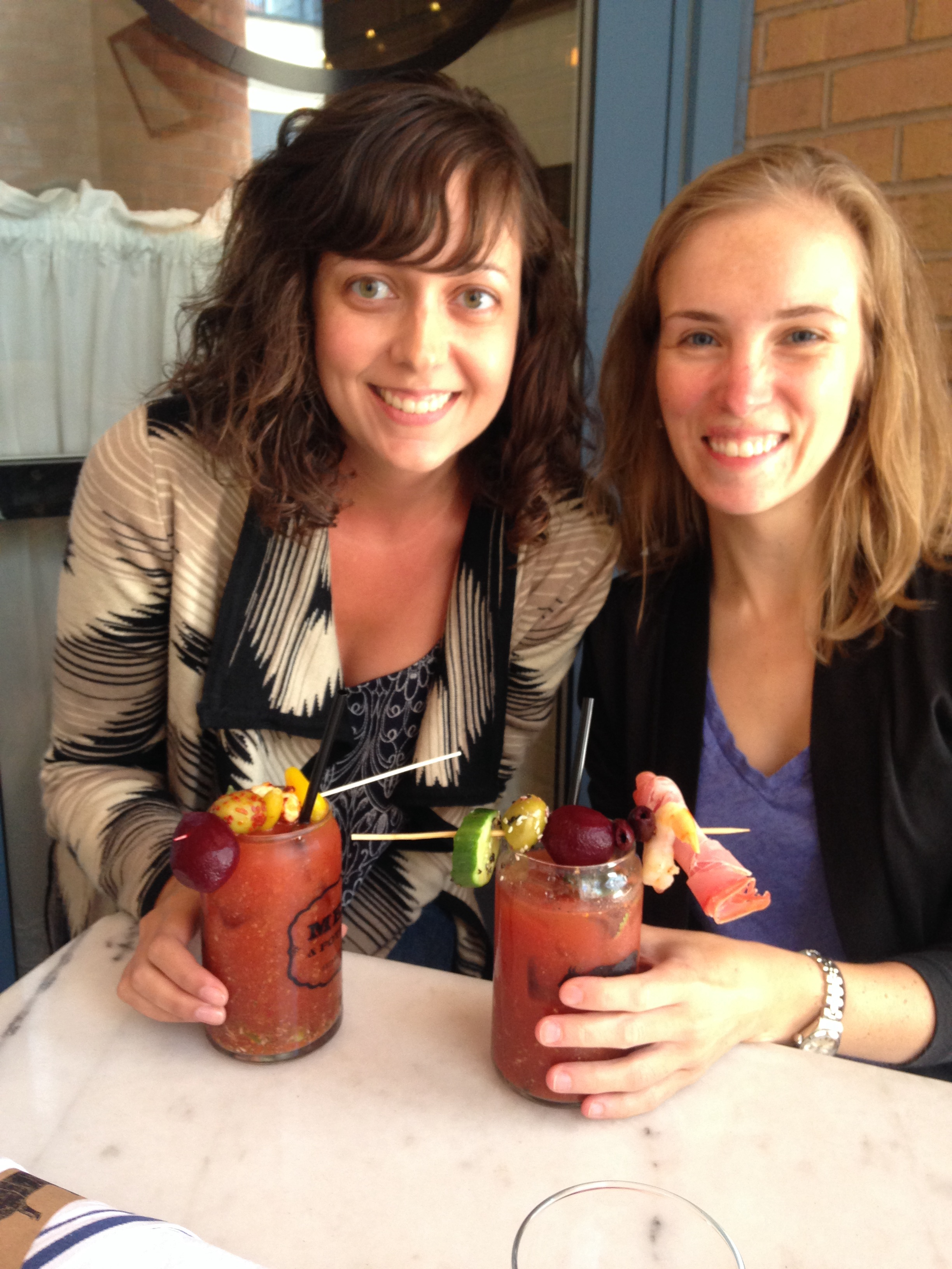 Nicole and Zabe get carried away at the Bloody Mary bar.