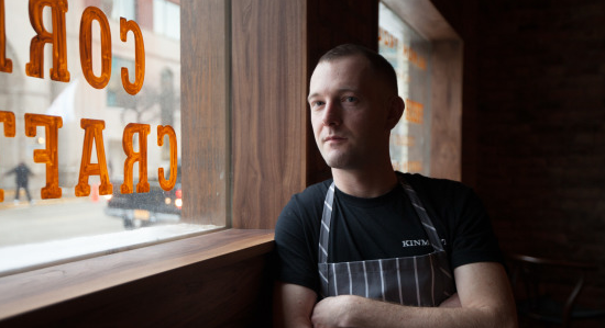 Charcoal chalk stripe apron, logo t-shirt  Photo courtesy of Time Out Chicago