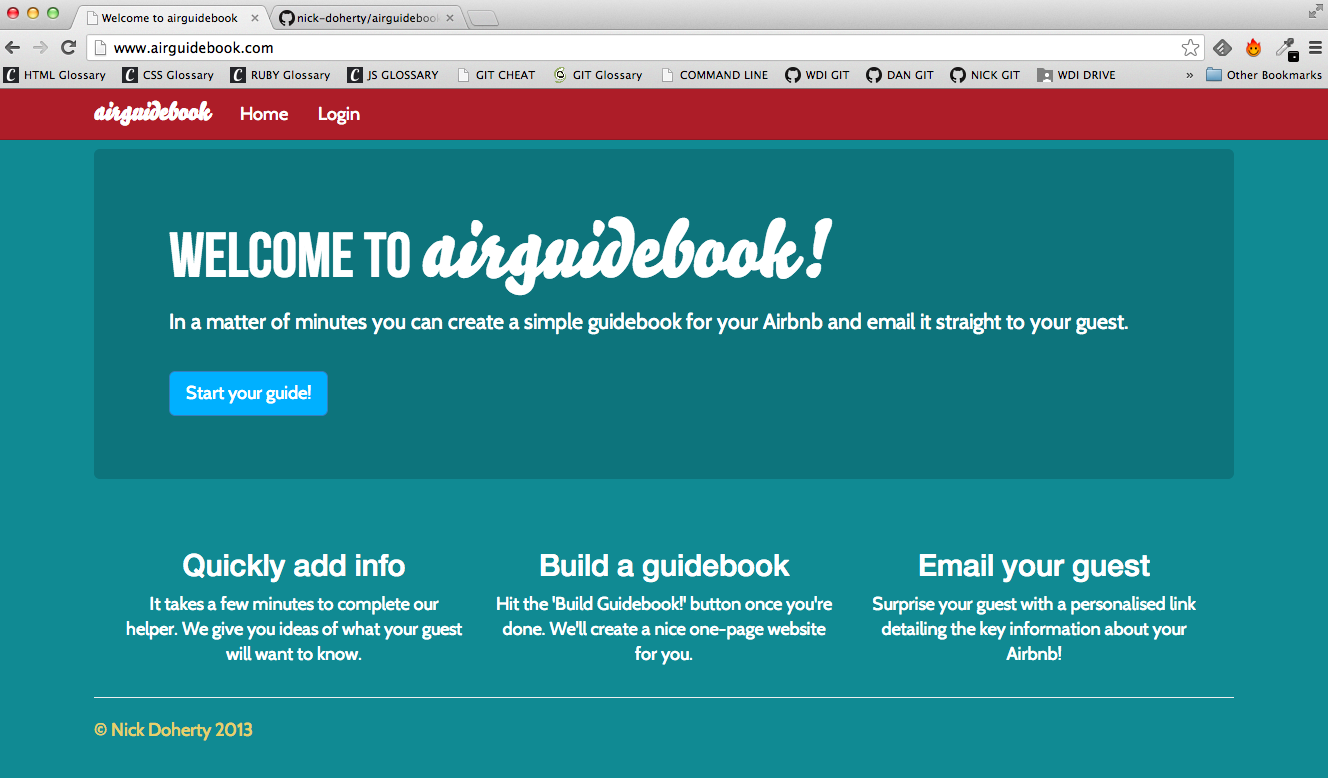 Airguidebook Welcome screen, web