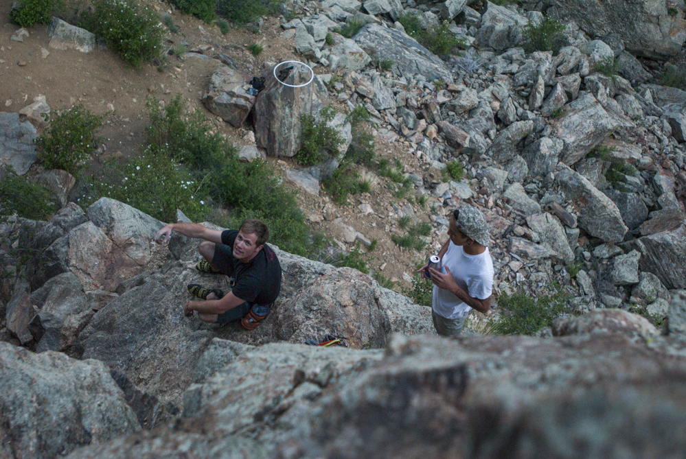 Michael and Christian waiting for Brenden to rappel.