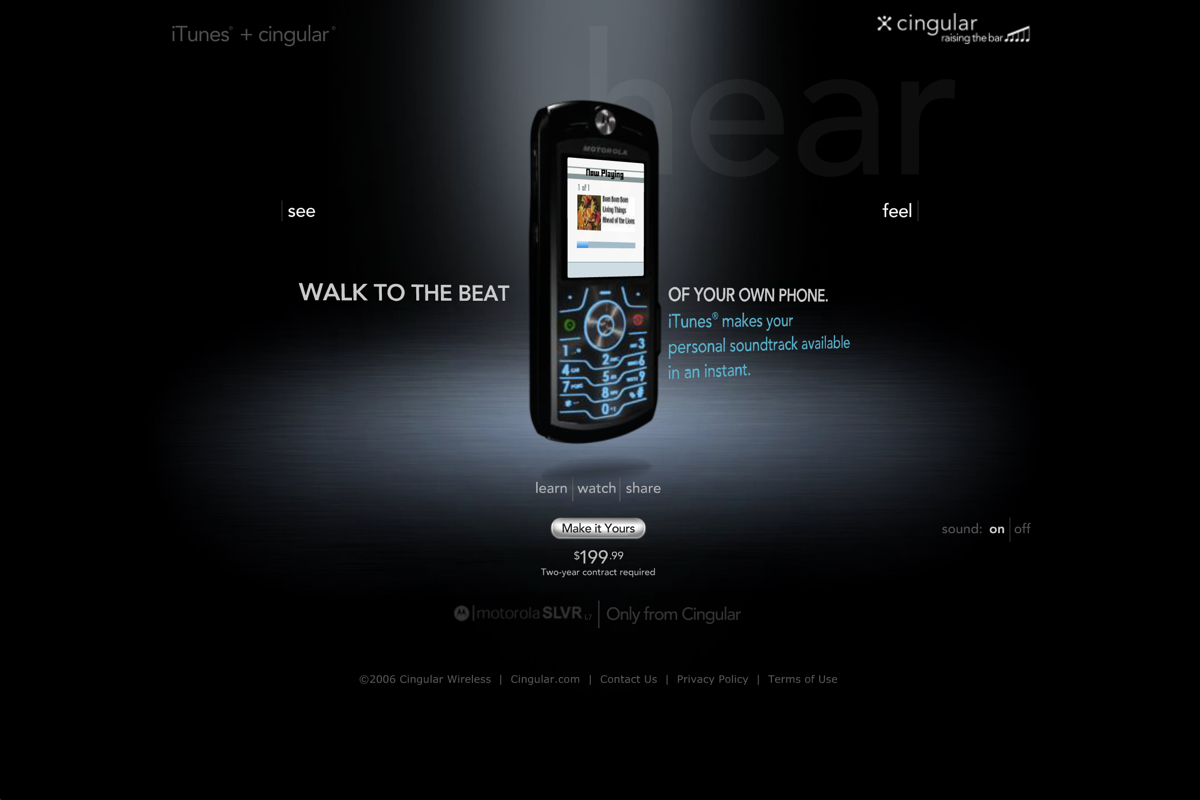 """Hear"" page, showcasing iTunes player"