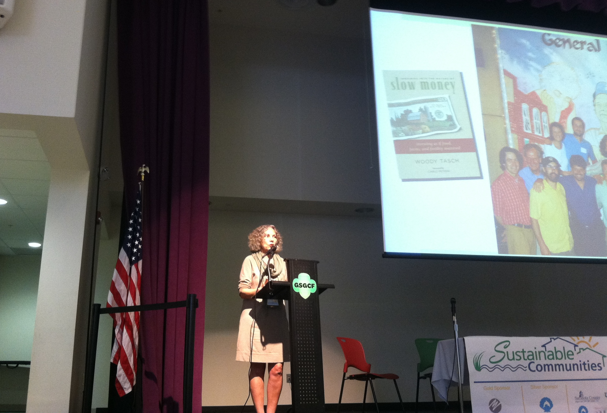 Carol Peppe Hewitt speaking at Sarasota County's 8th annual Sustainable Communities Workshop.