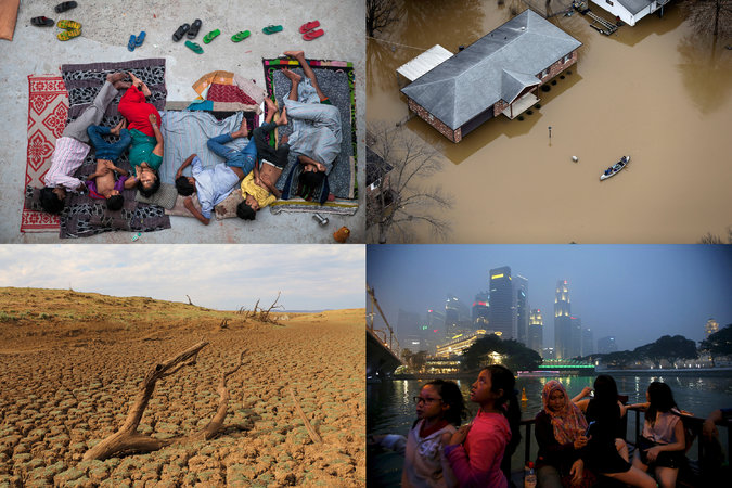 Clockwise from top left: A family sleeping on the roof of a house in New Delhi last May; people navigating a flooded street in a canoe in Arnold, Mo., on Dec. 31; tourists in a haze-shrouded Singapore last September; the drought-stricken Molatedi Dam in South Africa in November. (Tsering Topgyal/Associated Press, Jeff Roberson/Associated Press, Edgar Su/Reuters, Stuart Graham/Associated Press)