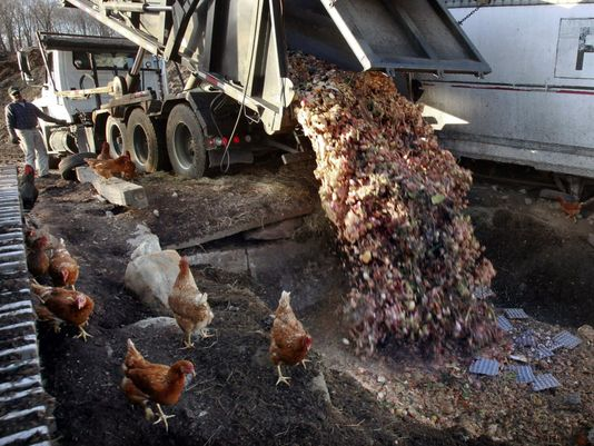 Dumping food scraps at a compost in Montpelier Vt., in 2013. (Photo: Toby Talbot, AP)