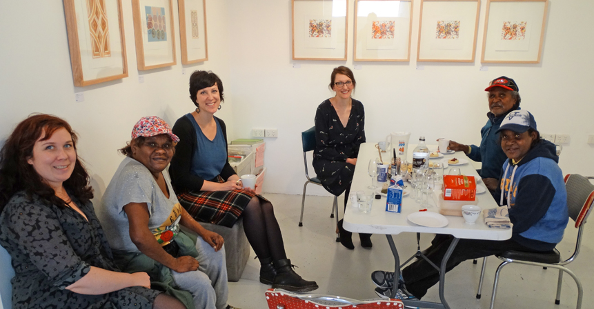 Iwantja artists and manager with TOP print tutor and gallery volunteer