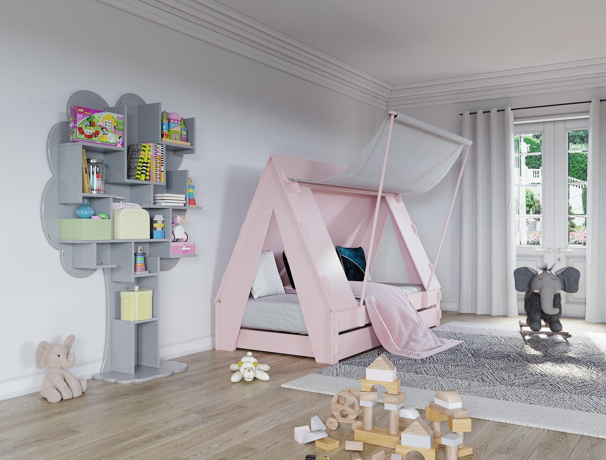 """Lit tente rose dans chambre d'enfant - """"Tent"""" Mathy by Bols"""