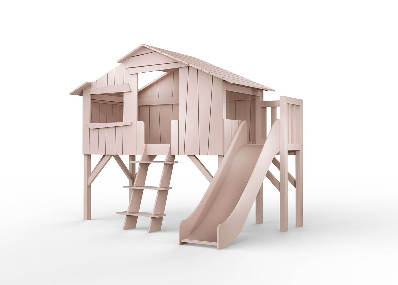 """Lit cabane rose avec toboggan - """"Treehouse"""" Mathy by Bols"""