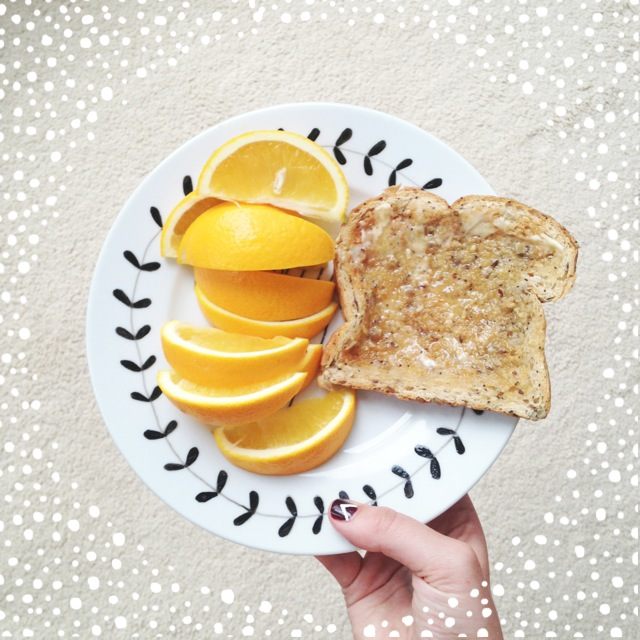 2//. this supper of toast with local honey & the  juiciest orange I've had in a long while!