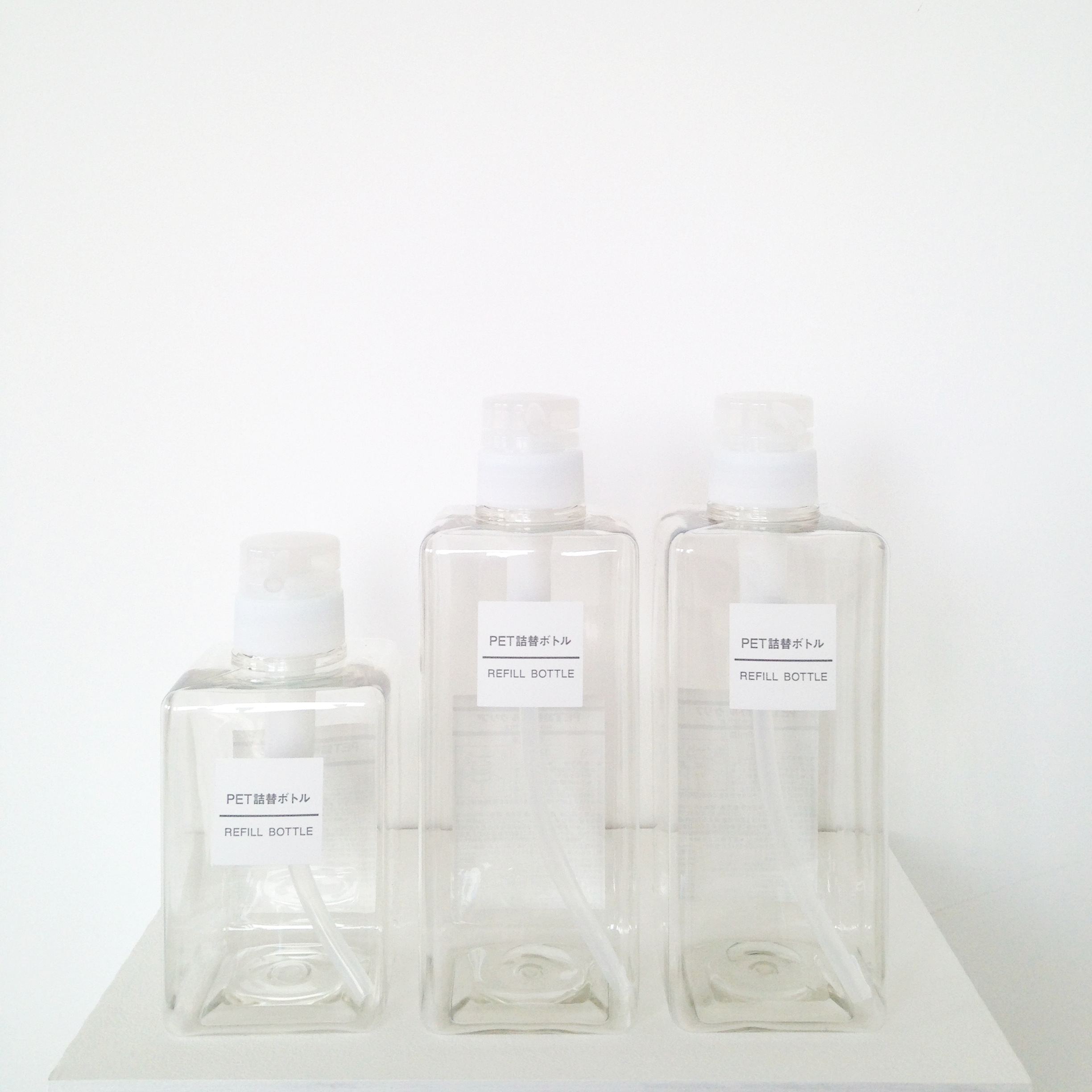 4//. these incredibly cool bottles also from Muji for making my shampoo, conditioner & shower gel look awesome. {I love simple, functional design - its just so beautiful}.