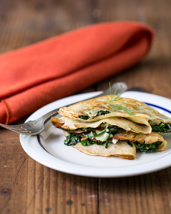 Grilled Cheese Crêpes with Chard & Dill