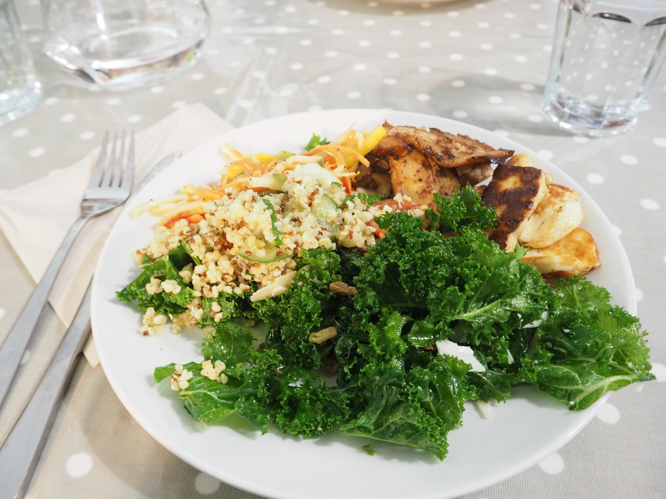 I had grilled halloumi, pork belly and kale salad, summer fresh slaw & quinoa buckwheat salad!