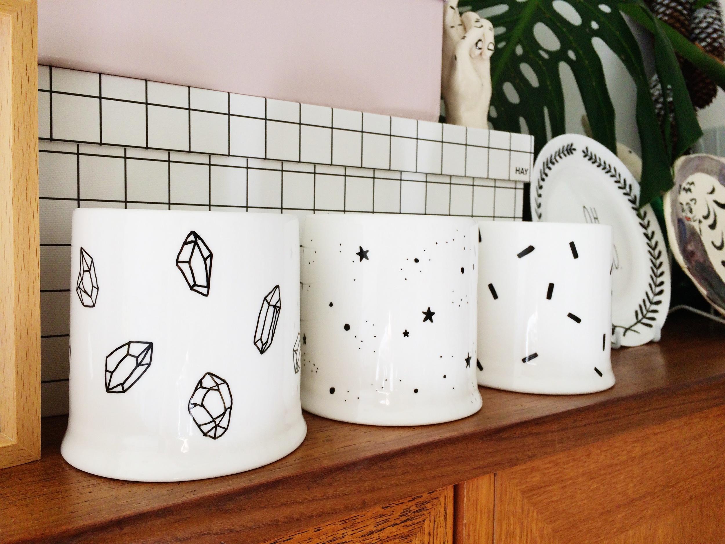 ohnorachio // hand illustrated porcelain planters