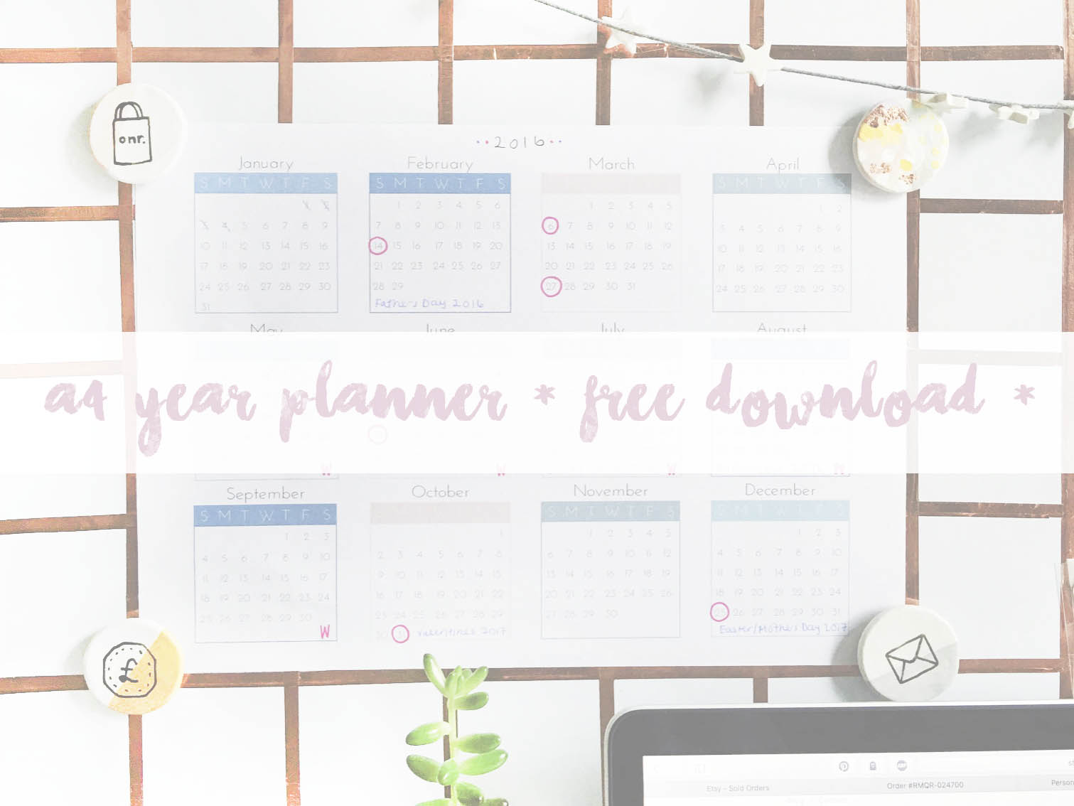 ohnorachio - free downloadable A4 2016 Year Planner