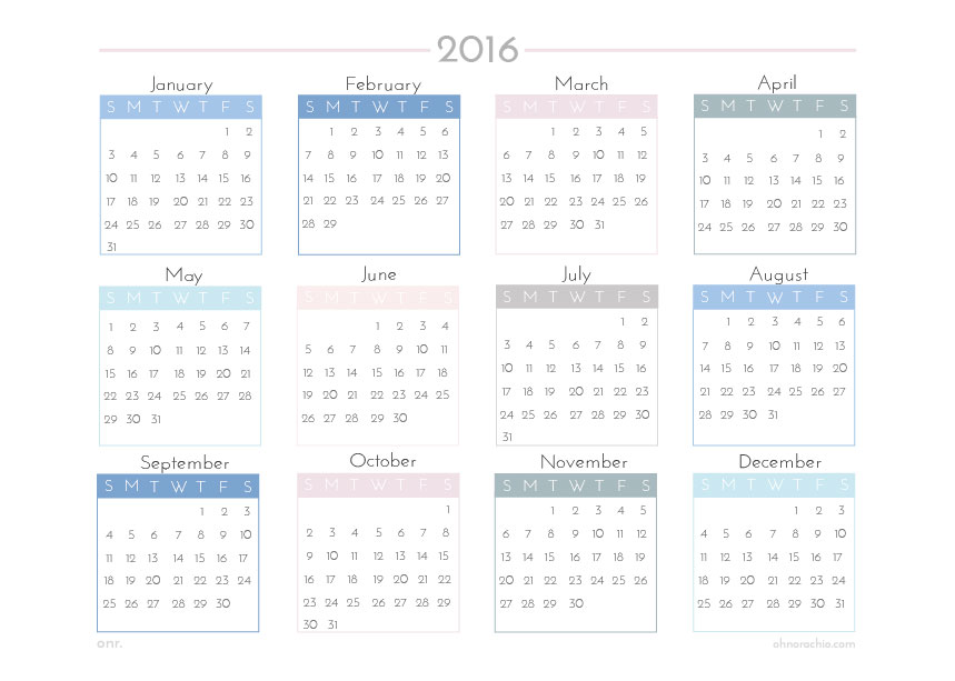 ohnorachio - free downloadable A4 Year Planner