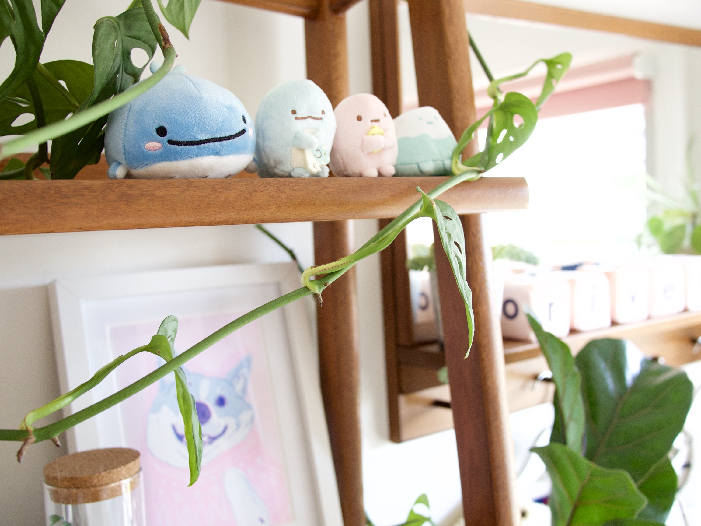 The Details: Sanrio creatures {picked up in Japan on our honeymoon for bub}; dog print; plant: Monstera Adansonii