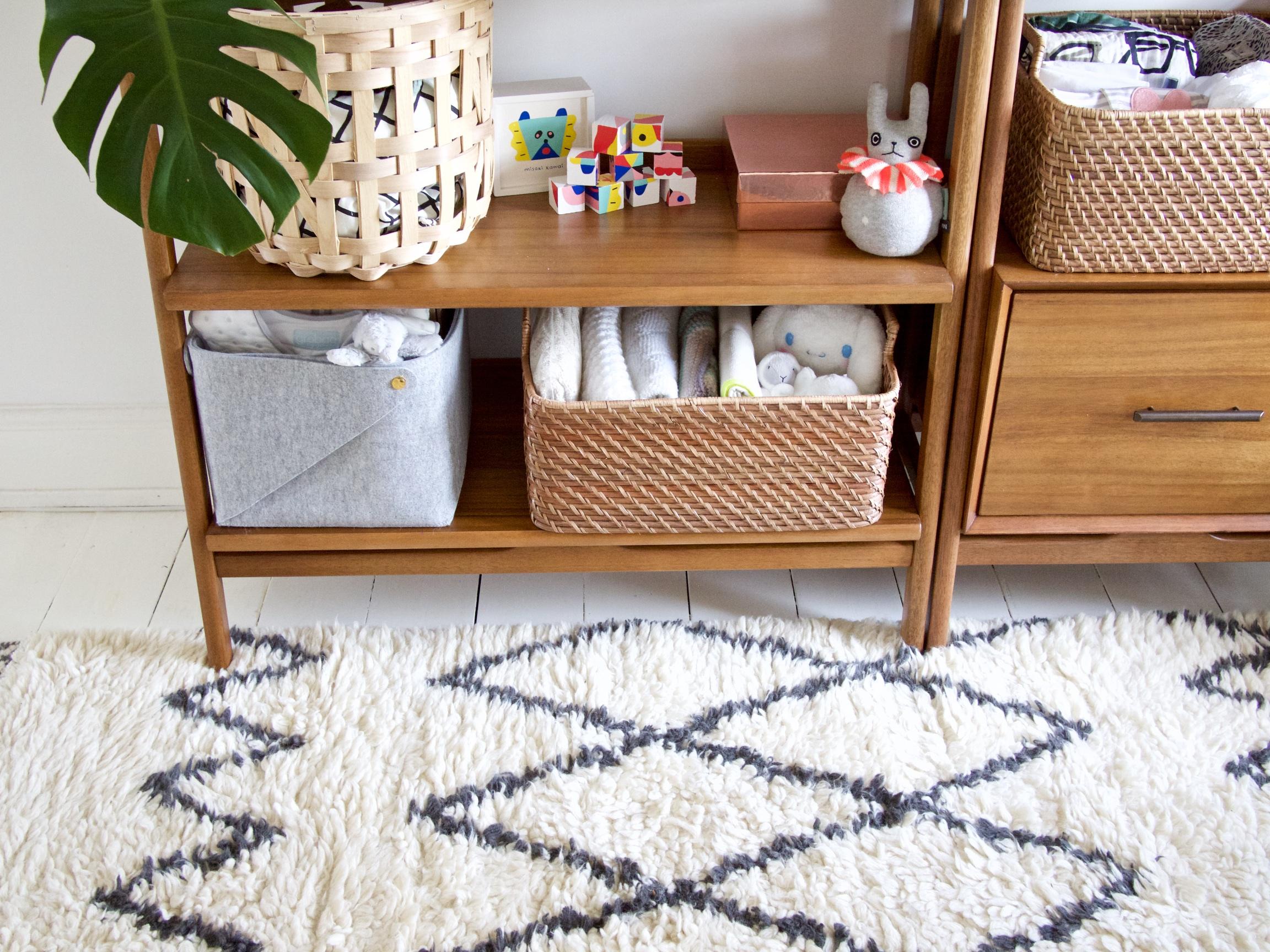 The Details:  rug *;  grey felt tub ;  basket *;  open weave basket ; building blocks {old range from Flying Tiger};  roly poly rabbit ; plant: monstera