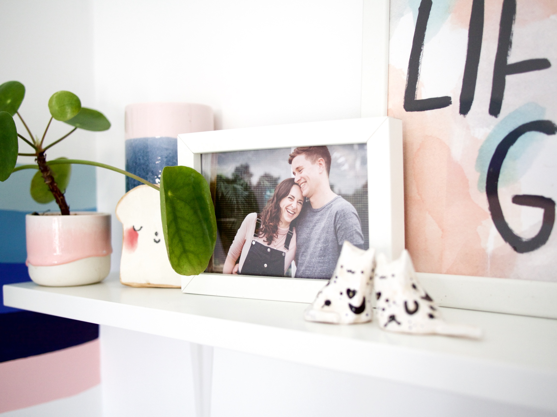 The Details:  pink planter ;  toast tile ;  tall vase  {similar}; cats {homemade}