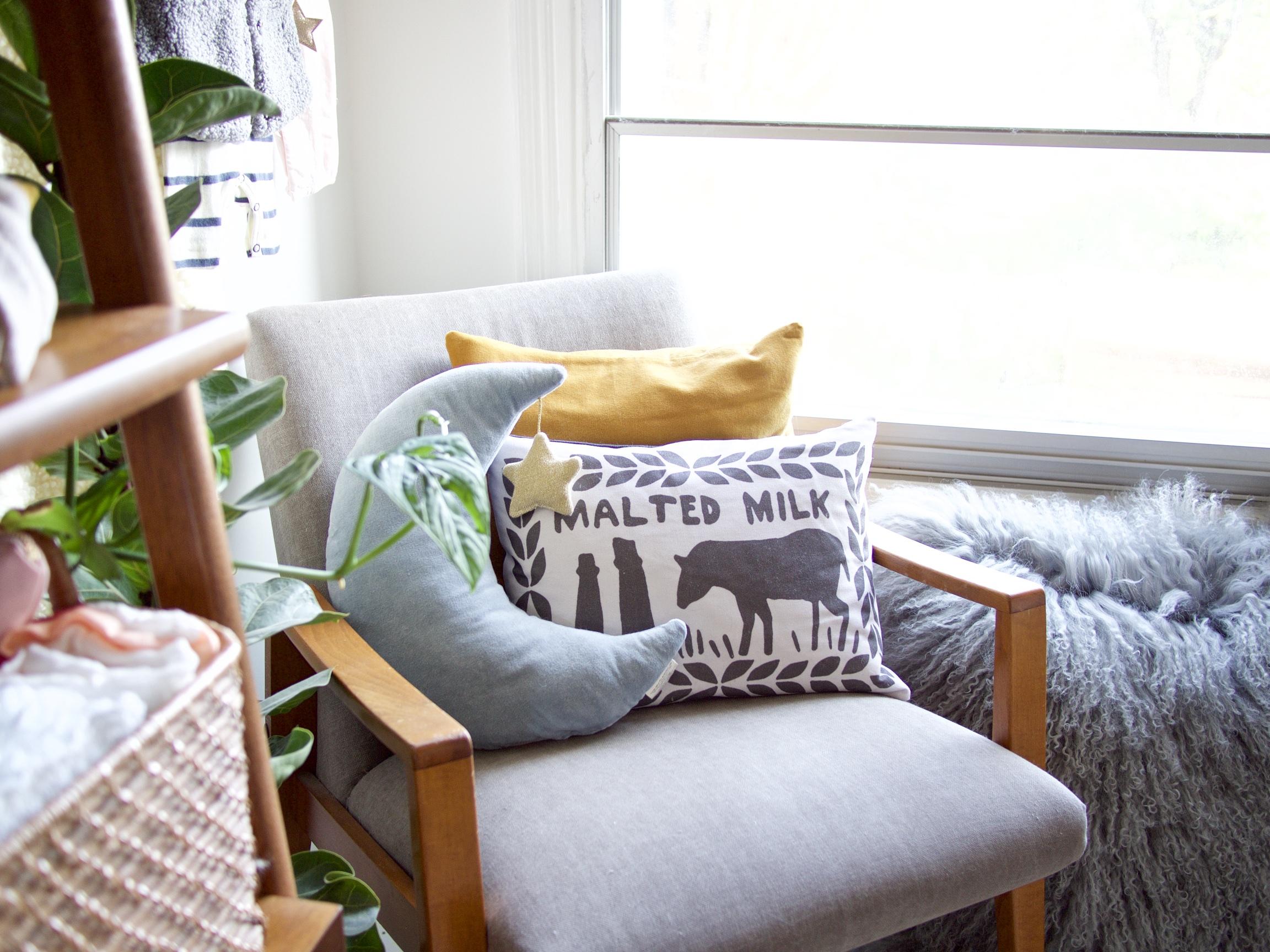 The Details: chair;  fluffy cushion *;  moon cushion ; mustard cushion {charity shop find};  malted milk cushion