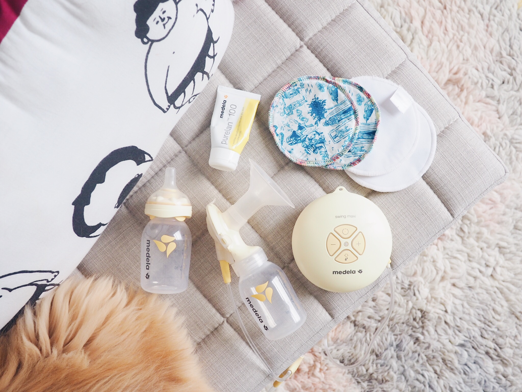 Expressing & feeding must-haves…fluffy cat butt optional. Pump & cream:    Medela   * / Breast pads: Star Wars by    Silly Panda   *, plain white by    Baba + Boo   *