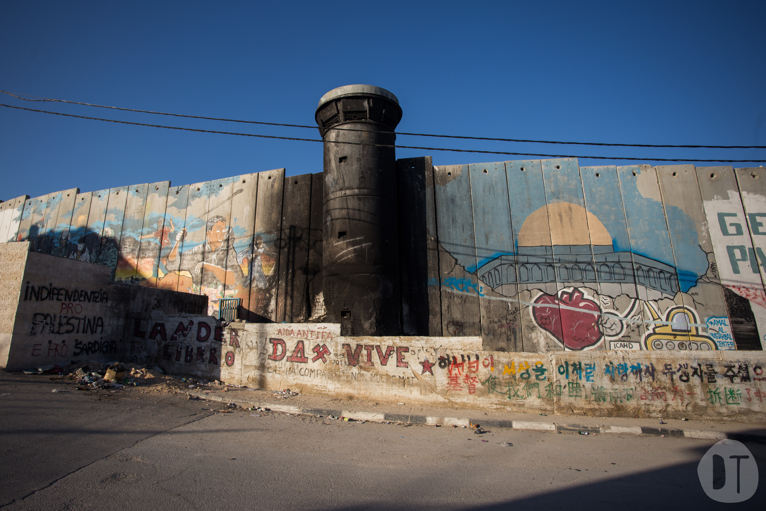 The fence includes IDF observation points. This one near  Bethlehem has been abandoned.