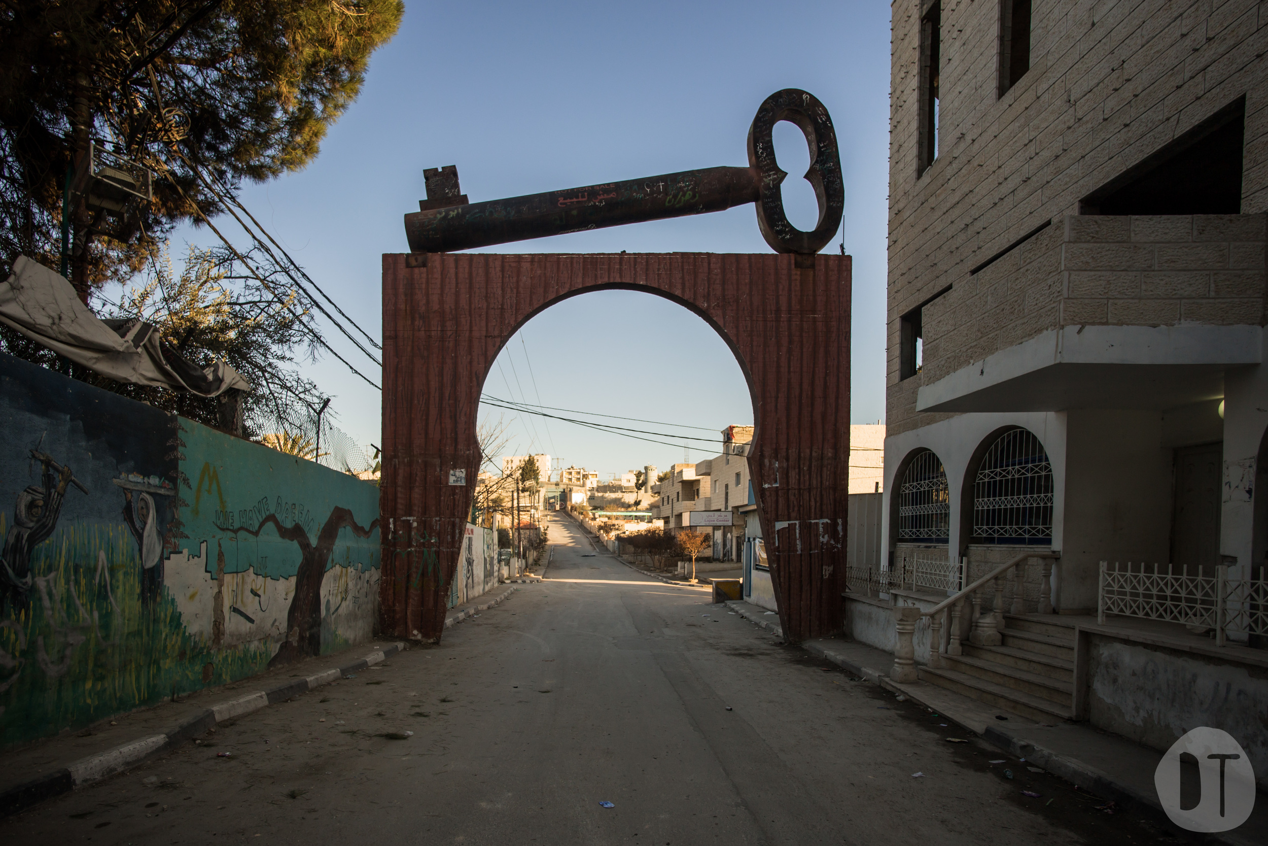 The two tonne 'Key of Return' at the entrance of the Aida Refugee Camp was installed in 2008 - it was featured at the 7th Berlin Biennale in 2012.