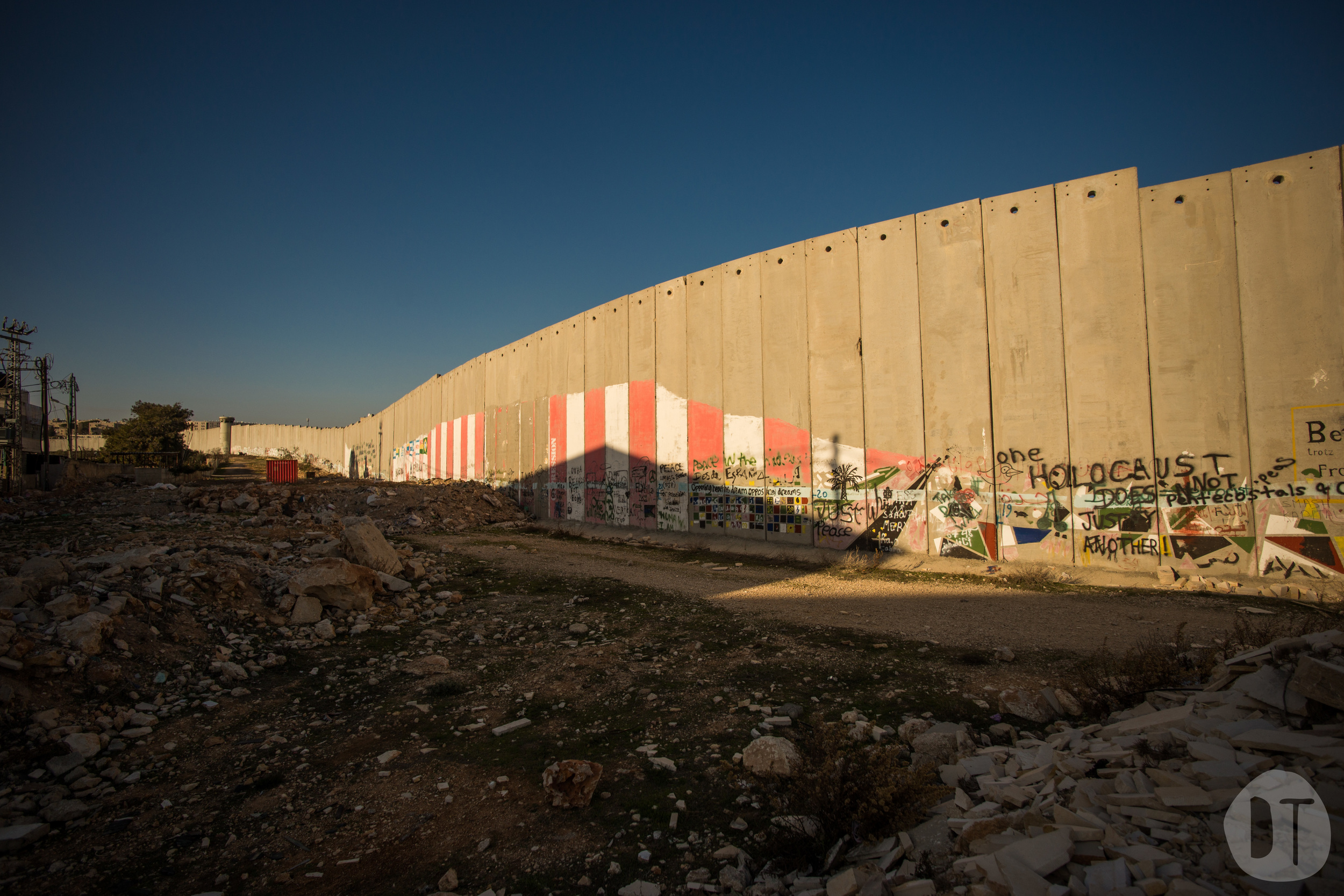 The separation barrier does not follow any recognised border. At this point near  Bethlehem  it has been specifically routed to enclose  Rachel's Tomb - a religious site revered by all three monotheistic religions.