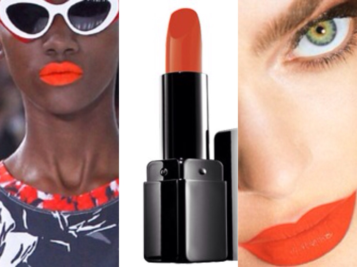 Unusal colors on the lips like pastels and coral-reds