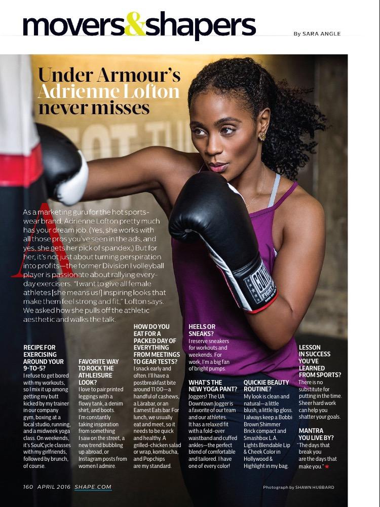 Shape Magazine | Adrienne Lofton VP for Under Armour | Tymia Yvette