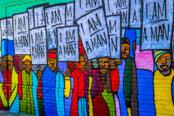 I Am A Man (#RayGun81 Remix). Mural by     Marcellous Lovelace    honoring the    Sanitation Workers March    in Memphis. Pic by    Mike Harding