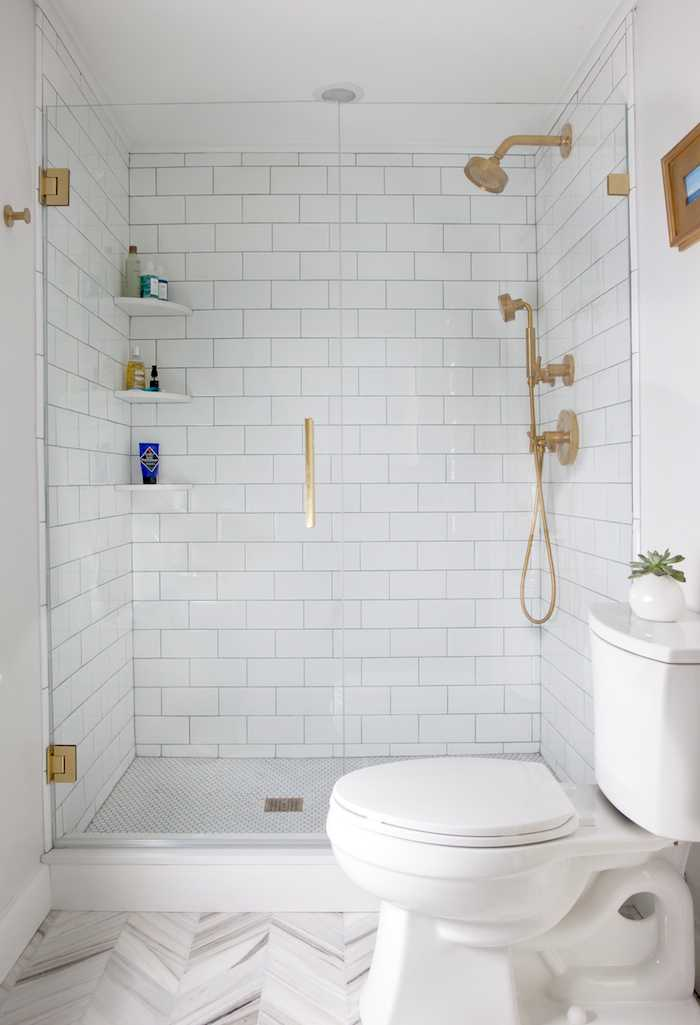 Replacing the Tub With a Walk-In Shower  Personally I love having a tub in the home. If you are not one to use a tub often, replacing it with a walk-in shower will give the space an updated and modern look. Keeping the glass on the shower clear will give the room a bigger look.