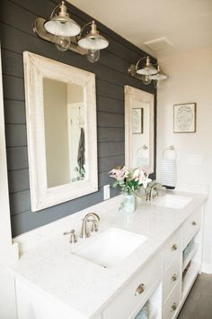 Add an Accent Wall  Add some personality to your bathroom by adding an accent wall. Use paint, shiplap, wallpaper, whatever fits your style to give a new look.