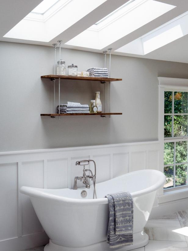 Add Wainscoting  This decorative paneling looks great in a bathroom! The one thing to watch with this technique is the height, keeping it only covering one-tire of the wall.