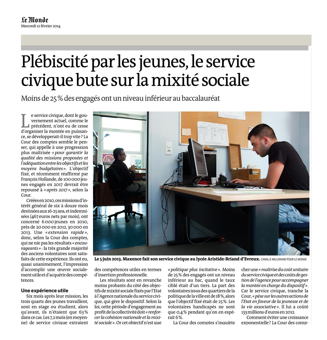 Parution dans Le Monde daté du 12 février 2014