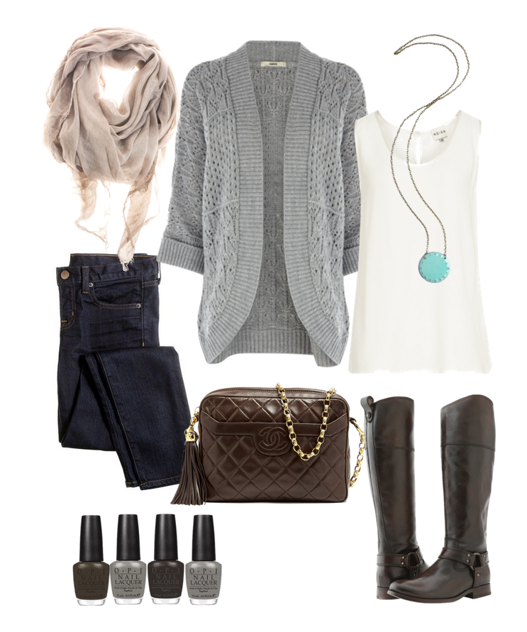 Classic Fall attire: Jeans, leather boots, sweater/cardigan, scarves, and a fabulous piece of jewelry.