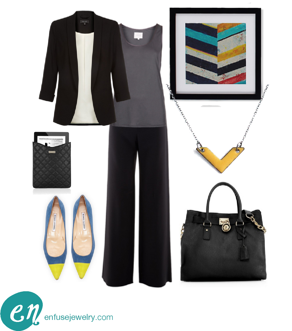 Chevron Necklace ,  Artwork ,  Blazer ,  Top ,  Pants ,  iPad Sleeve ,  Shoes ,  Handbag