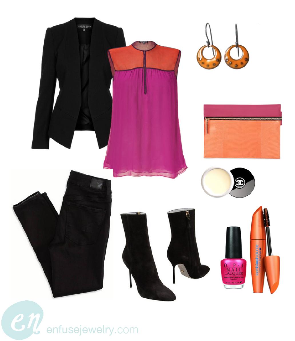 Earrings ,  Handbag ,  Polish ,  Mascara ,  Boots ,  Blazer ,  Top