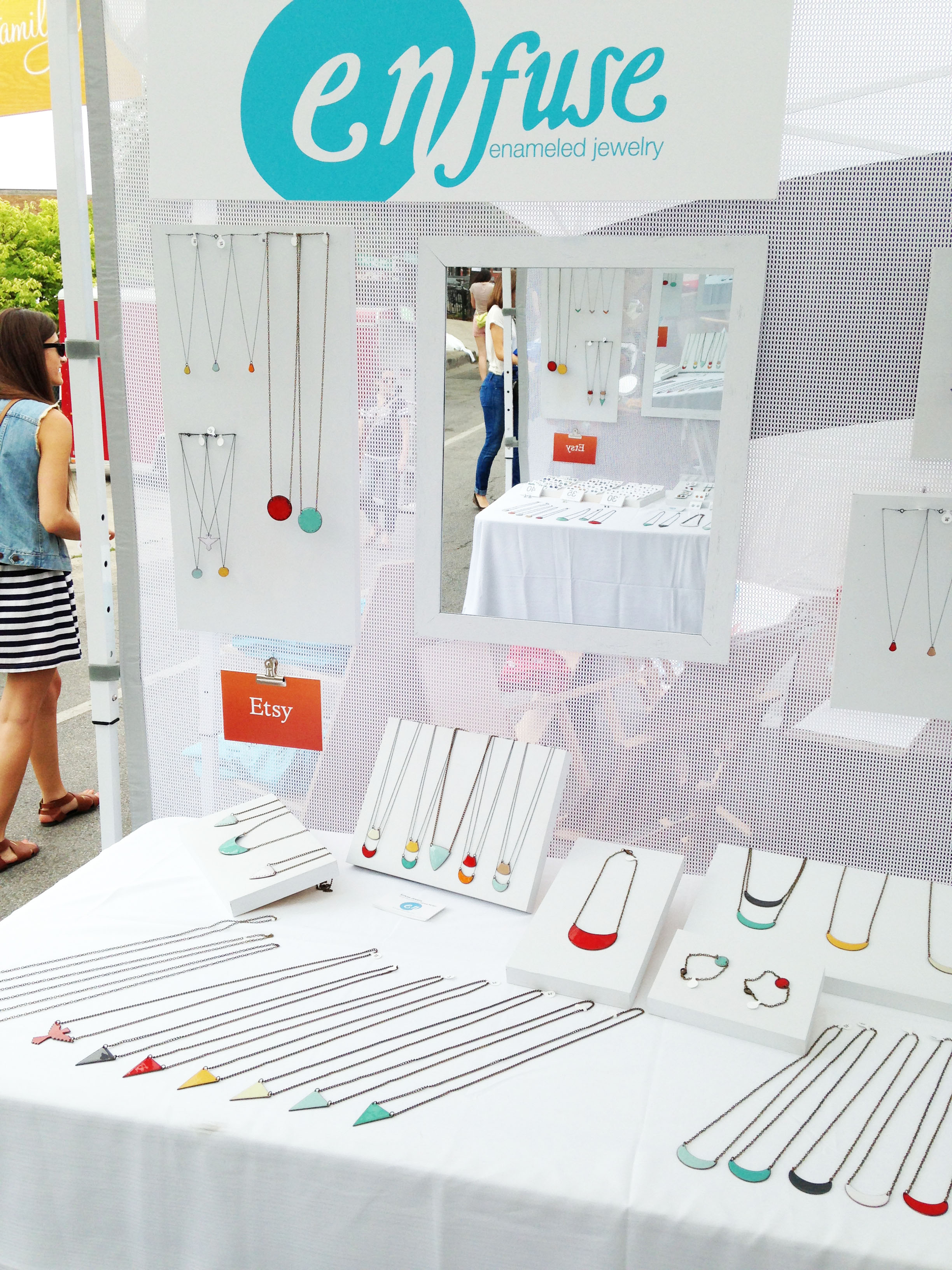 Enfuse Jewelry booth with lots of fun colorful jewelry!