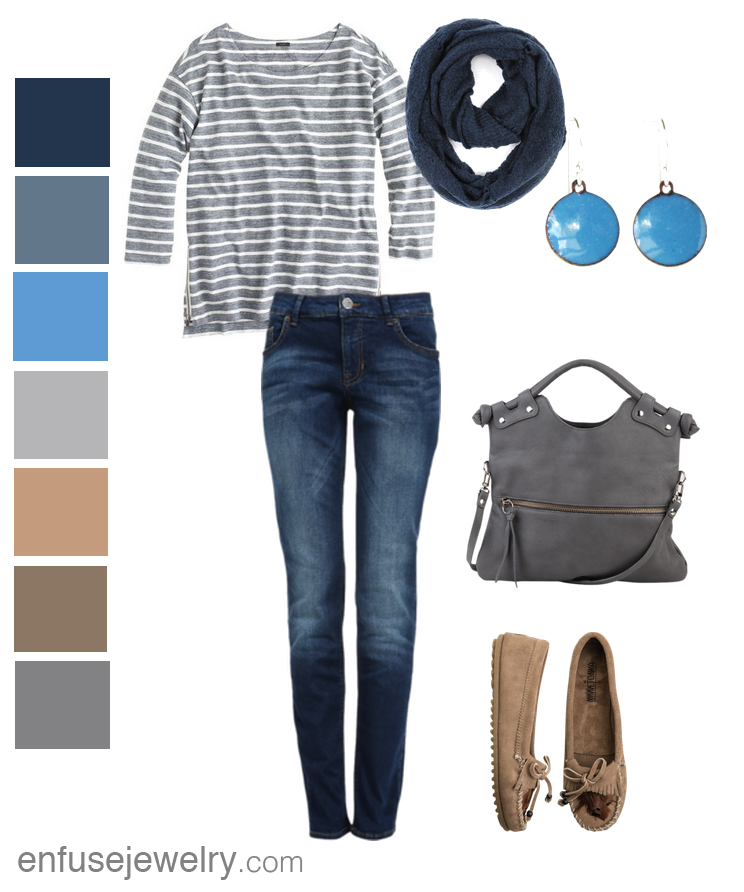 Comfortable fall fashion inspired by Enfuse Jewelry's Country Blue Circle Earrings.