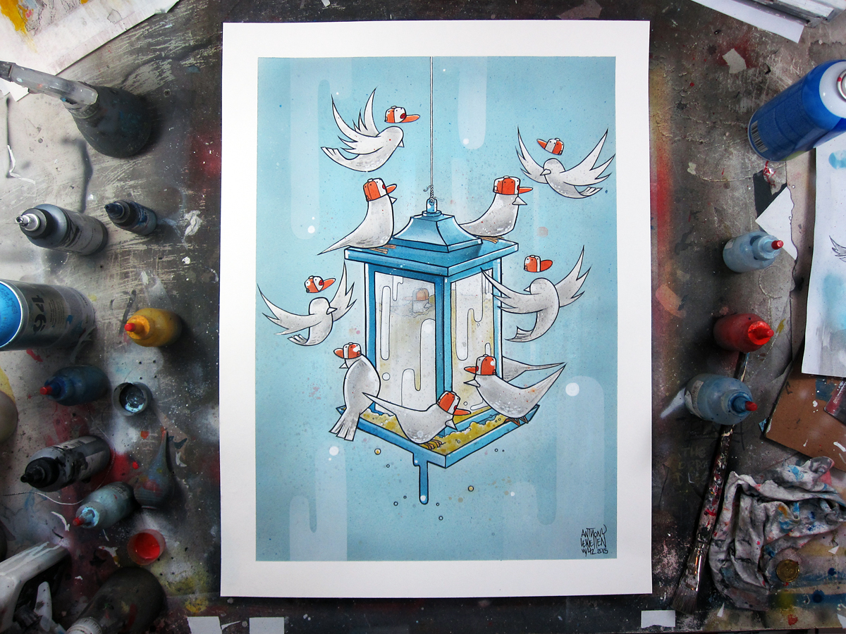 """Week 42 complete.  For the Birds 18"""" x 24"""" ink, acrylic and spray enamel on paper"""