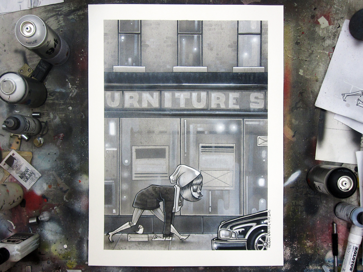 """Week 44 complete.  The Last Days of Wicker Park 18"""" x 24"""" ink, acrylic and spray enamel on paper"""