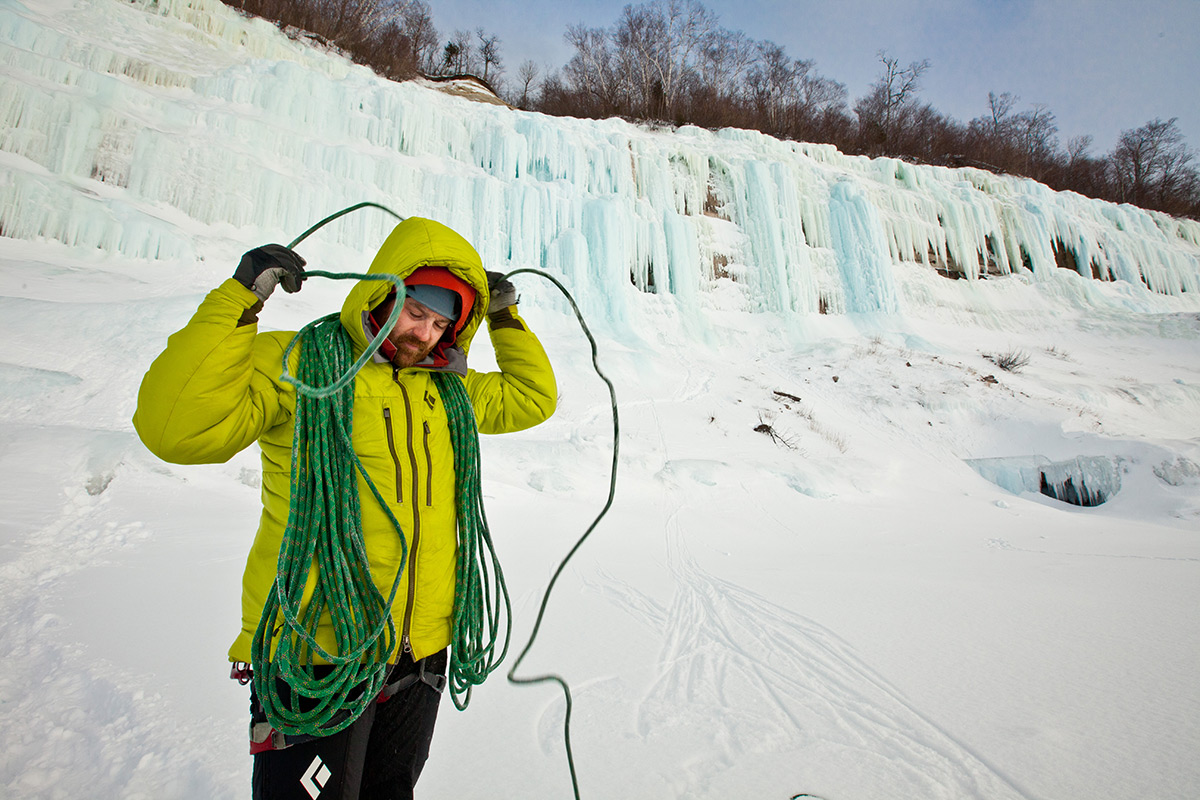 Jon Jugenheimer coils his icy rope on shelf ice along Grand Island.