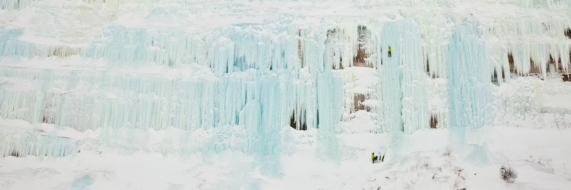 Blue ice formations span nearly half of a mile along the western shore of Grand Island.