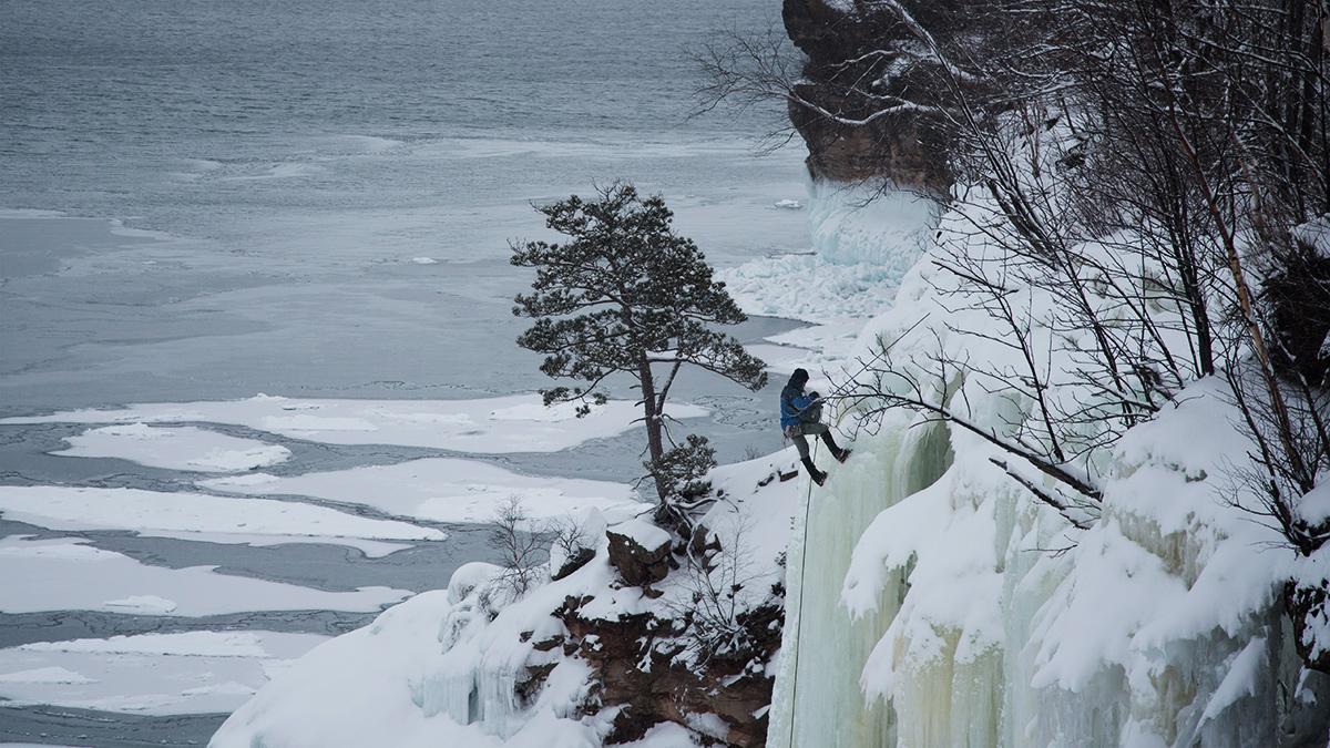 Mike hanging out on the north shore of Grand Island prepping to film clips of Raphael Slawinski climbing.