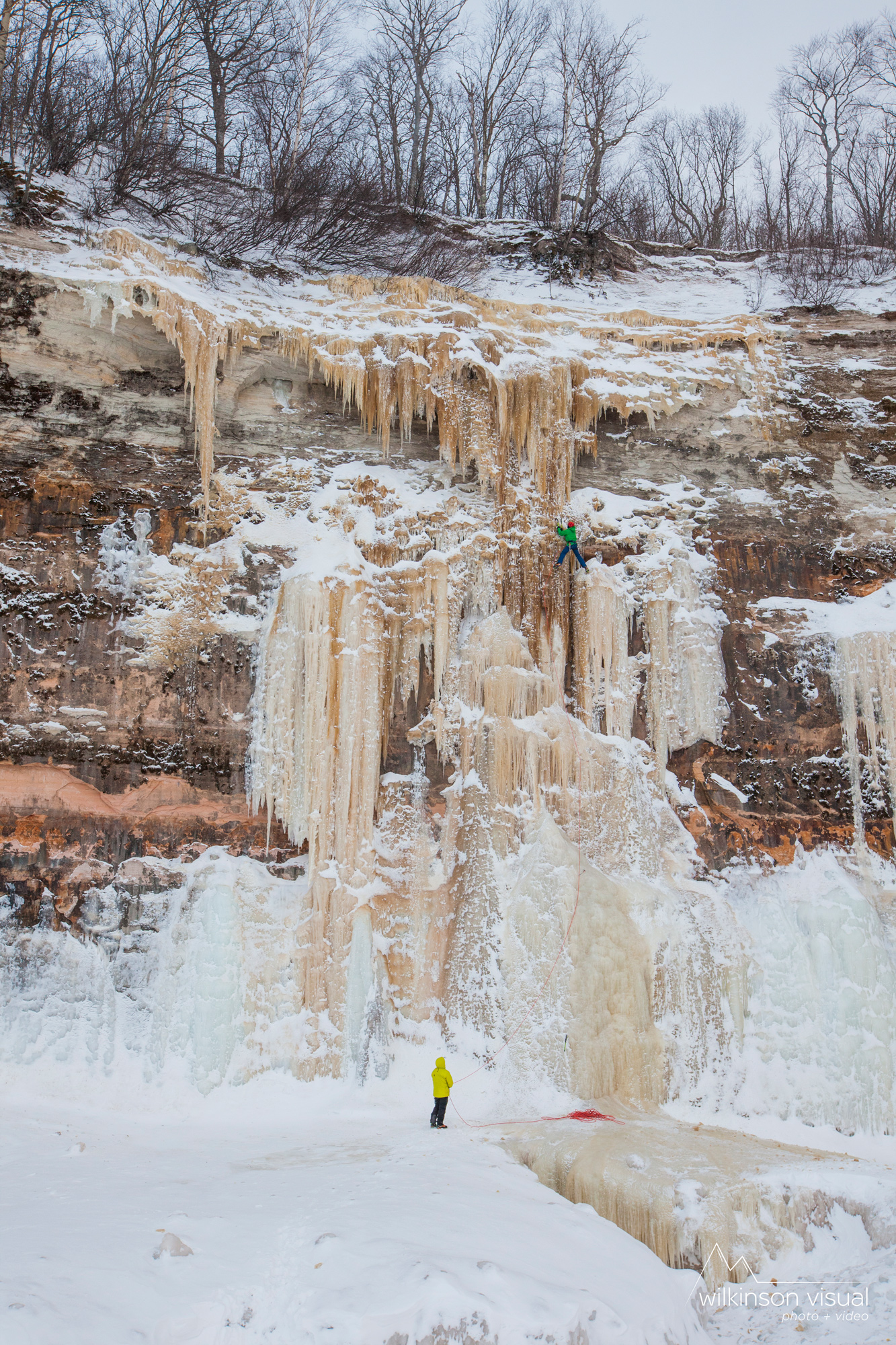 "Sam Elias climbs ""Fallen Feather"" in Northern Michigan."