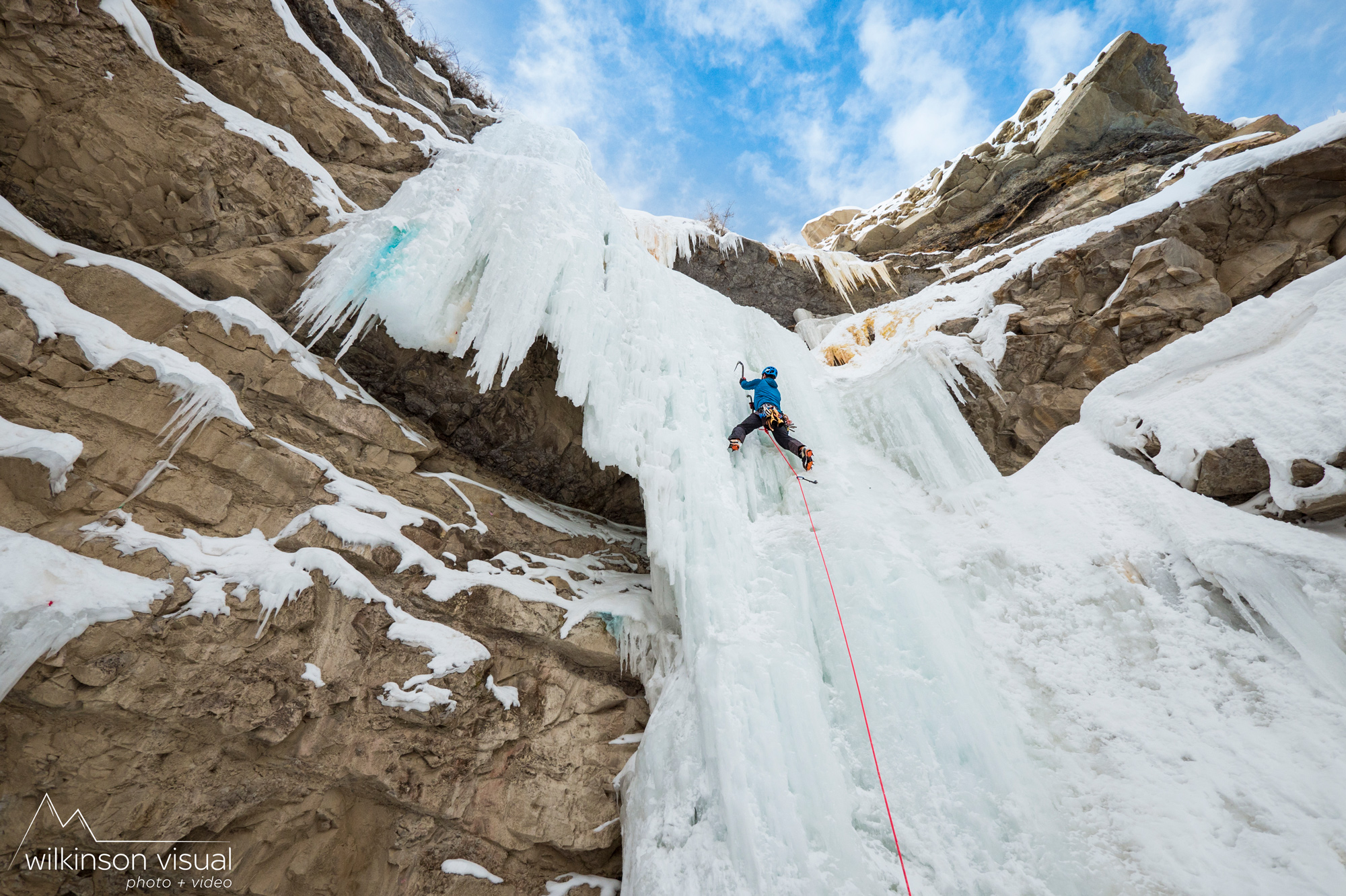 "Heath Rowland climbs the ""Pricecicle"" in Utah."