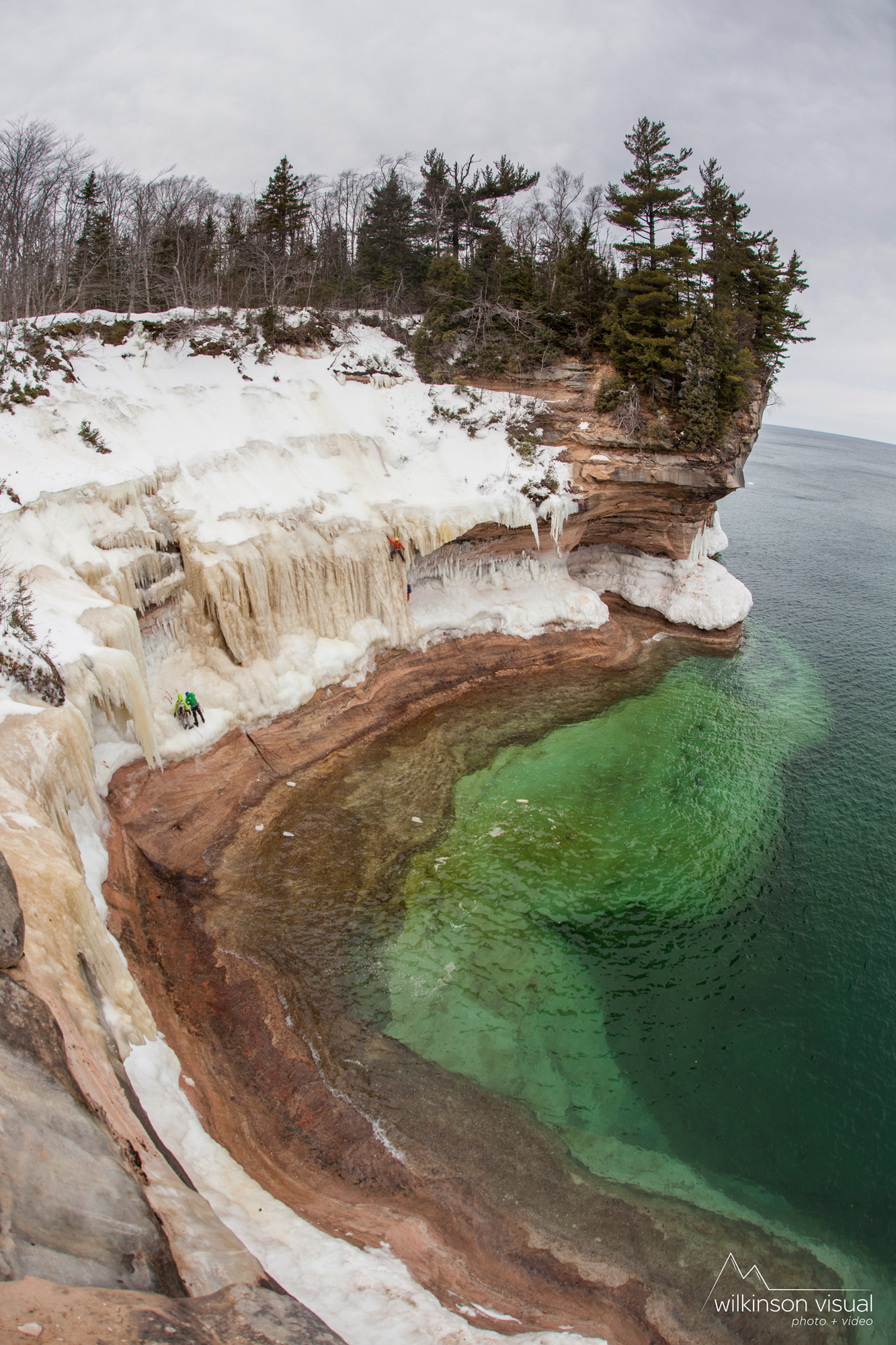 "Angela VanWiemeersch climbs ""Fred Astaire"" above Lake Superior in Northern Michigan."