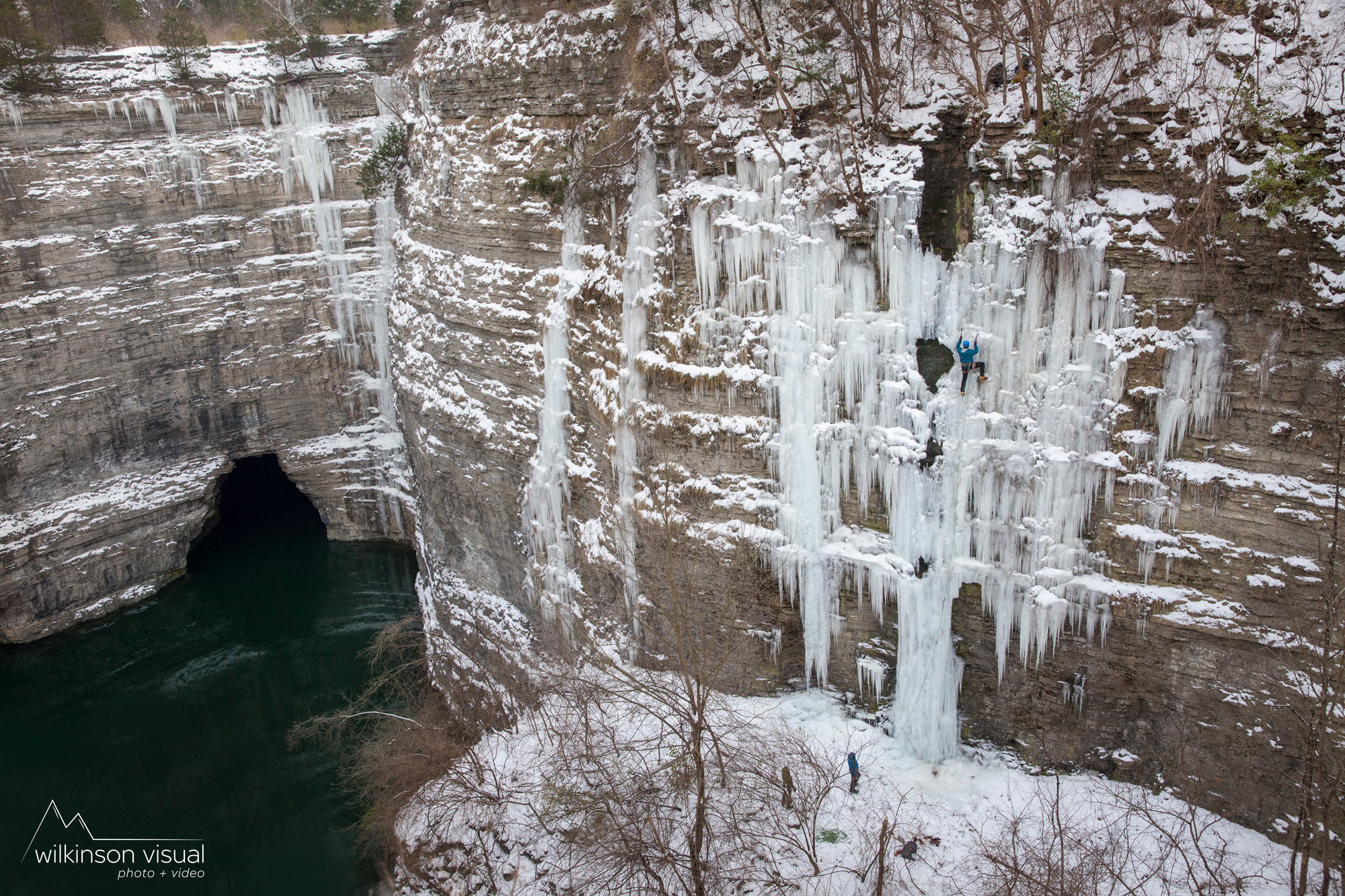 "Heath Rowland climbs the FA of ""Frigid Resonator"" in Kentucky."
