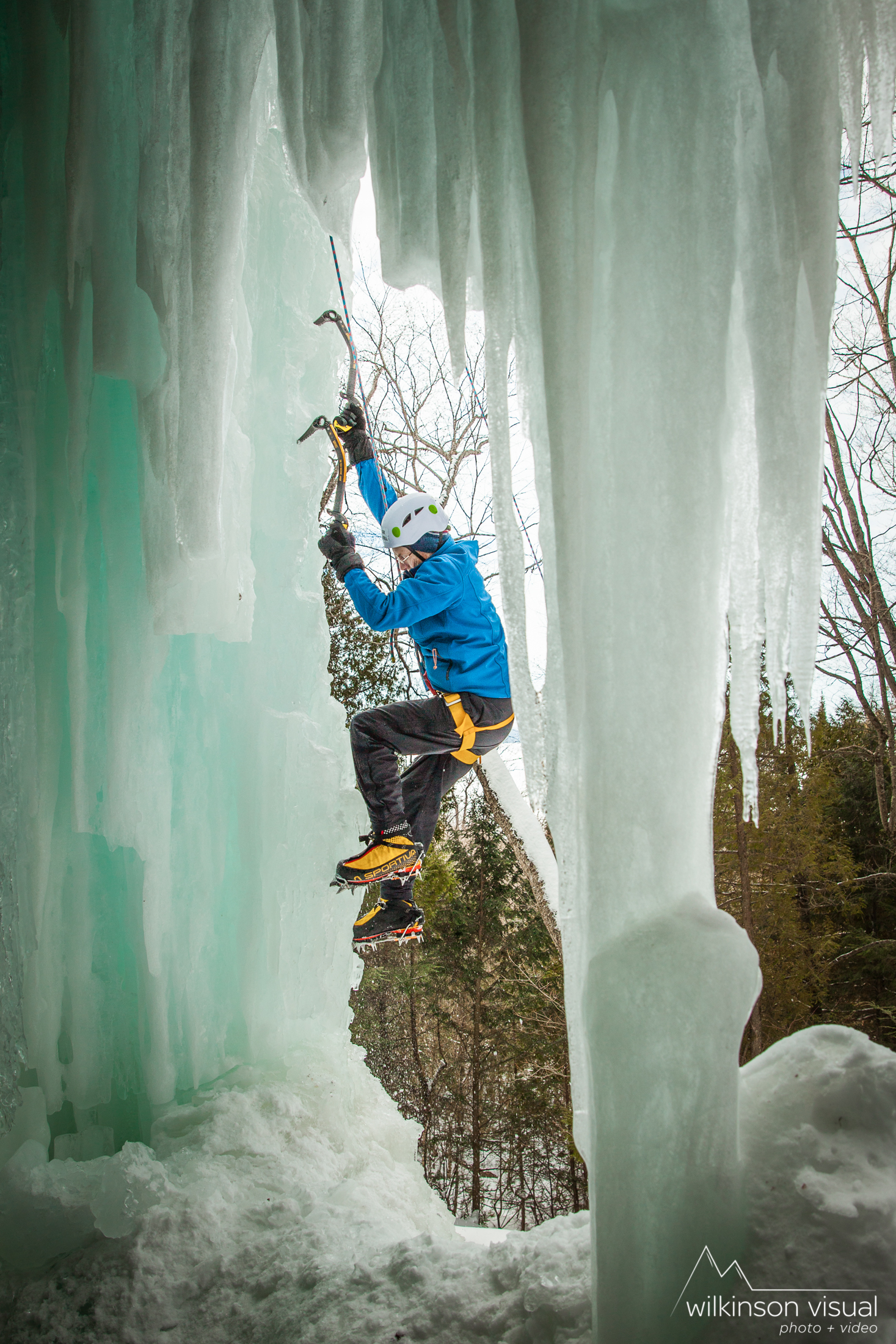 Mark Cantrell climbs in the Curtains area of Pictured Rocks National Lakeshore, Michigan. Grivel ice tools shown.