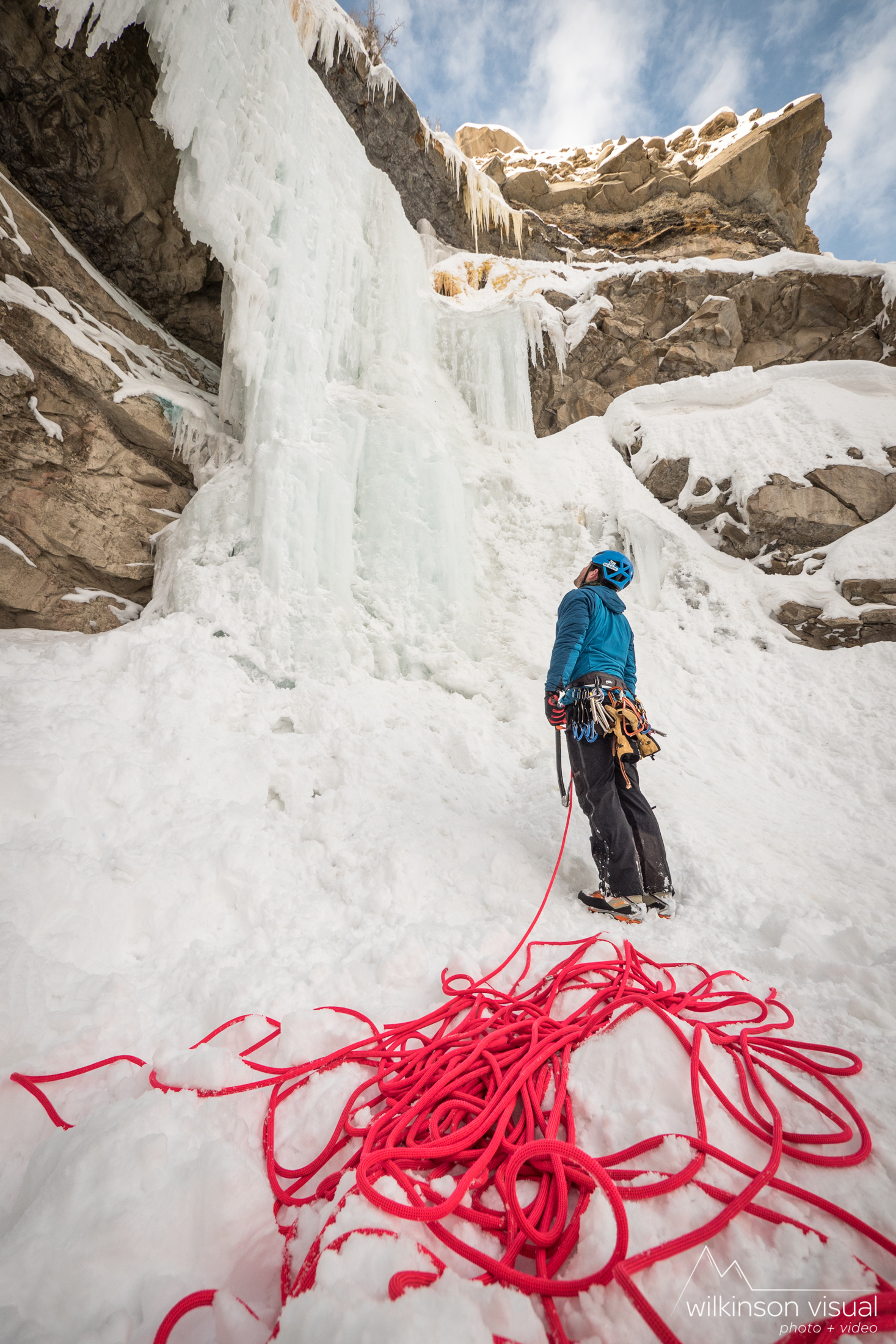 """Heath Rowland plans his line up the """"Pricicle"""" in Utah. Rope shown is Beal brand."""